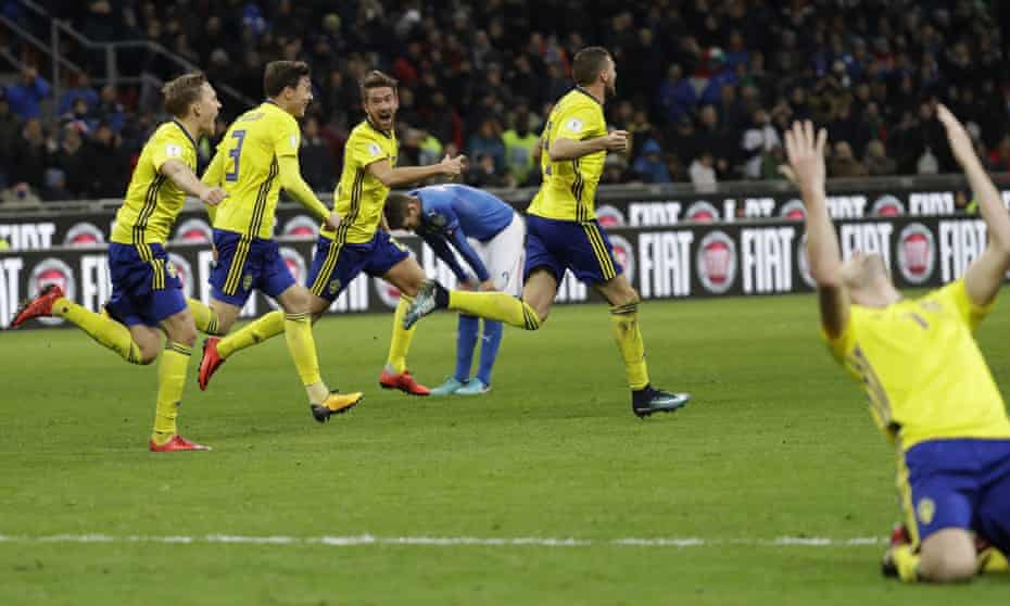 The Sweden players react to their world Cup qualification at the final whistle after their defiant draw in Italy.