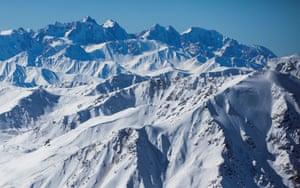 Peaks of the Tian Shan mountain range near Almaty in Kazakhstan