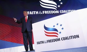 Donald Trump at the Faith and Freedom Coalition conference in Washington DC, on 26 June.