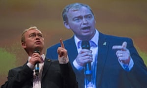 Tim Farron speaking at the Lib Dem conference on Sunday. Today he is giving his main leader's speech.