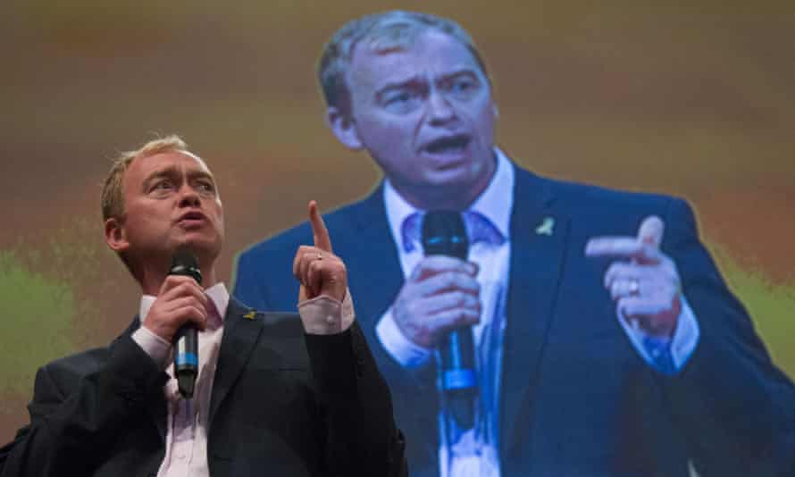 Liberal Democrat leader Tim Farron addresses the party conference in Bournemouth on Sunday.