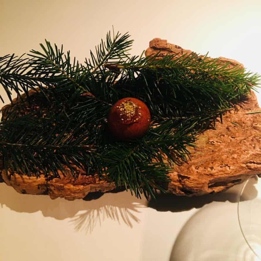 Venison doughnut served on pine: the Ledbury in Notting Hill.