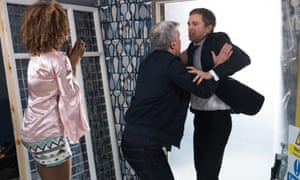 The girls is mine: Mac and Nathan fight over Lisa in Hollyoaks.