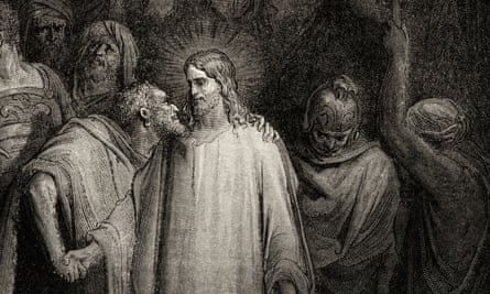 Judas kisses Jesus Christ in the Garden of Gethsemane. Amos Oz's novel considers the role of the infamous apostle as part of a novel set in postwar Jerusalem.