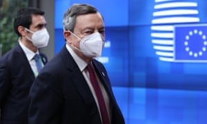 The Italian prime minister, Mario Draghi, in Brussels yesterday for an EU summit to discuss issues including Covid-19.