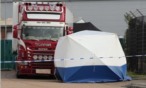 Container lorry in Grays, Essex, in which 39 bodies were found, and a forensic tent.