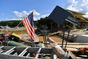 A view of the damage after heavy rain and devastating floods in Waverly, Tennessee.
