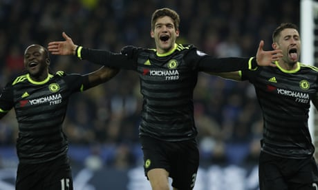 Chelsea bandwagon rolls on as Marcos Alonso double sees off Leicester