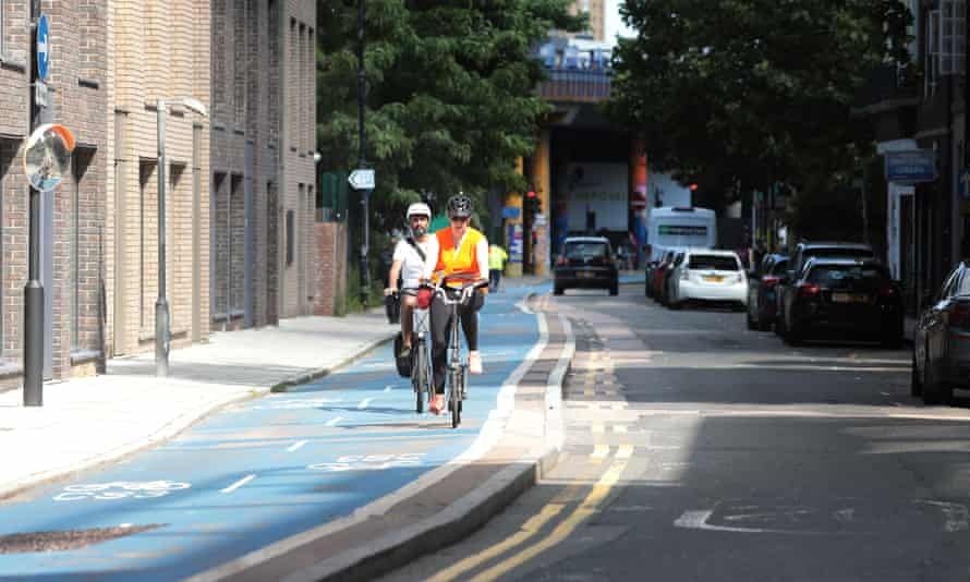Cyclists on a bike lane in east London in August