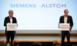 Siemens and Alstom announcing their rail merger in 2017