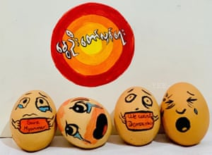 Eggs decorated with designs in support of protesters on Easter Sunday