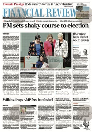 Front page of the AFR, Wednesday 28 November