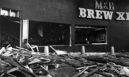 Wreckage of the Mulberry Bush pub in November 1974.