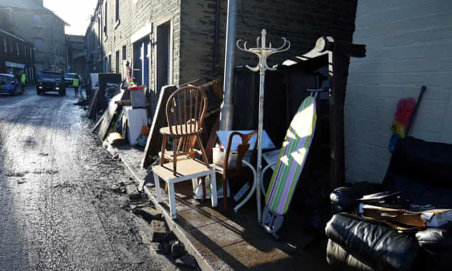Residents' ruined possessions on a roadside in Mytholmroyd