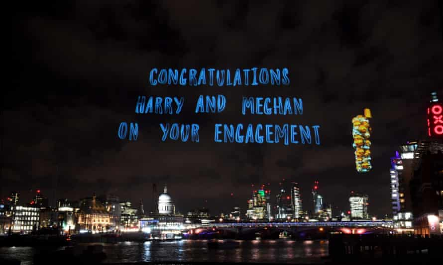 A hologram in the sky last week above London's South Bank congratulating Prince Harry and Meghan Markle.
