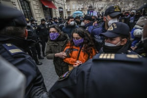 Azerbaijan A protest against domestic violence and violence against women in the centre of Baku was broken up by police.