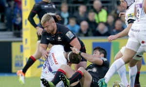 Saracens prop Richard Barrington was sent off for this challenge on Exeter's Geoff Parling.