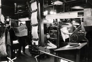 The Guardian rolls off the presses in the machine room in Deansgate, 1971. Once off the presses the newspapers would be bundled and packed ready for distribution across the country. (Archive ref: GUA/6/9/1/4/G box 3)
