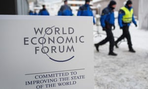 Swiss police officers take their positions at Davos.