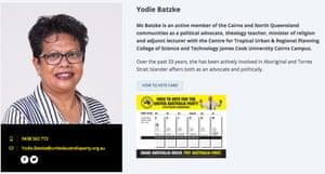 Yodie Batzke's profile on the United Australia party website