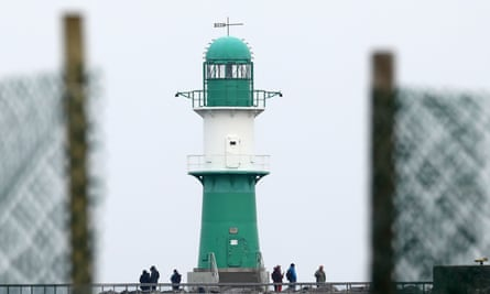 The 19th-century lighthouse in Warnemunde