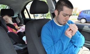Smoking in a car with a child