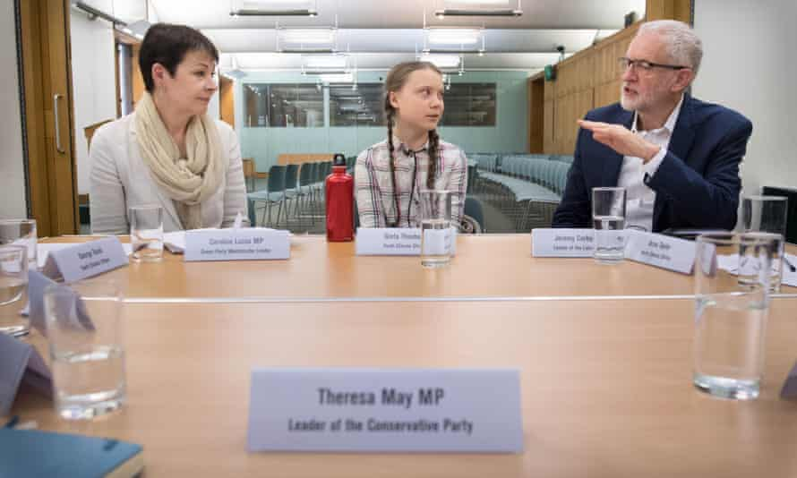 Caroline Lucas, Greta Thunberg and Jeremy Corbyn meet in the House of Commons
