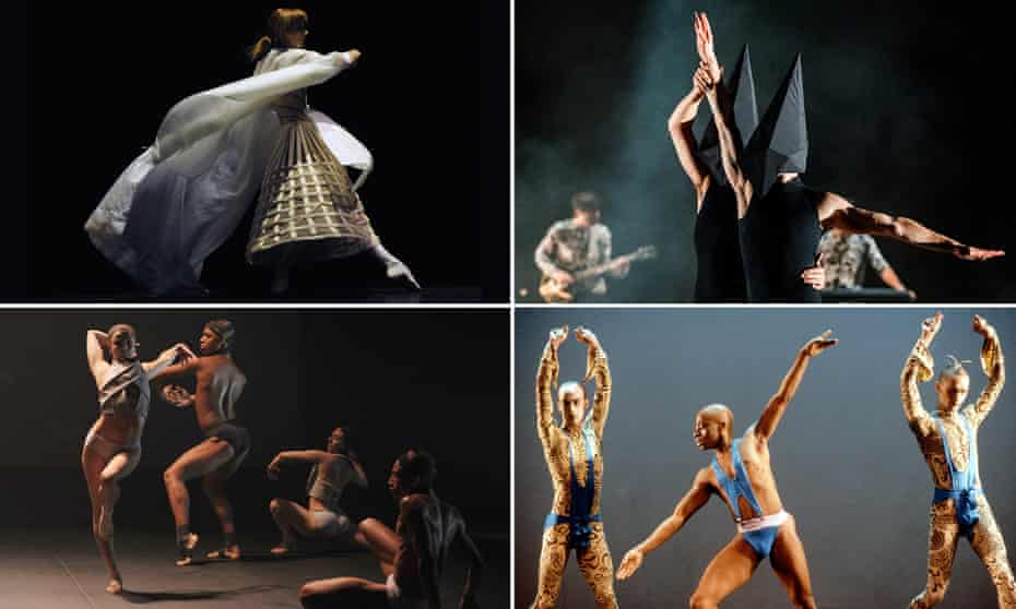 Clockwise from top left: Eonnagata, Carbon Life, Michael Clark's dance troupe in 1985, Gareth Pugh's presentation at Made Fashion week in 2015.