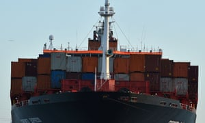 A container ship leaves Southampton as the government tries to decide on its future trading relationships.