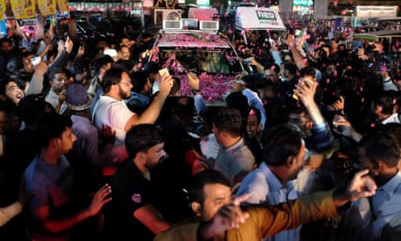 Maryam Nawaz in a car at a rally in Lahore on 9 September.