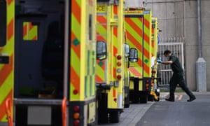 Ambulance staff outside the Royal London hospital