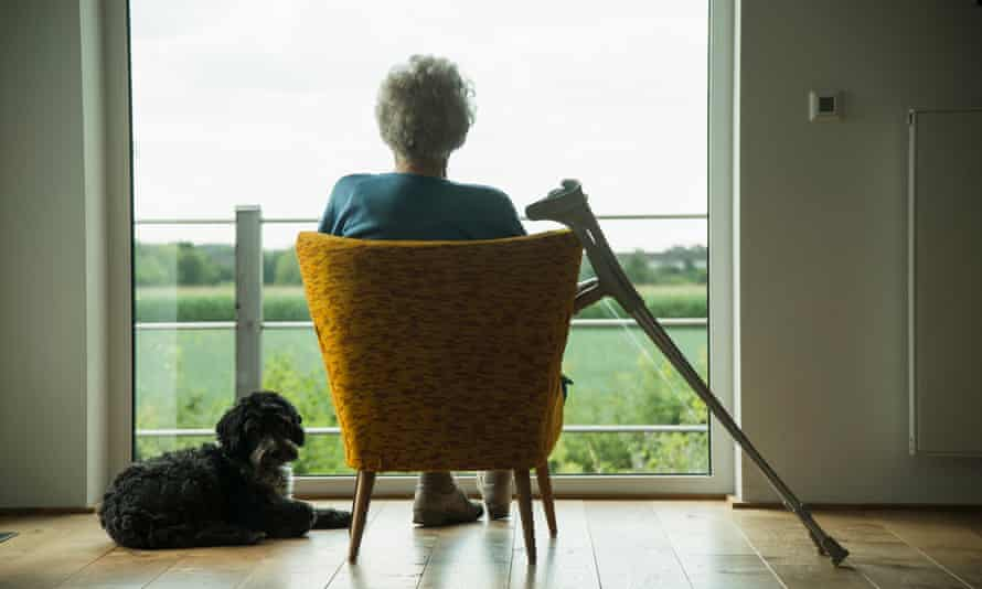 elderly woman at window with dog