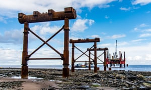 Pilings in place for the temporary jetty at Hinkley Point C.