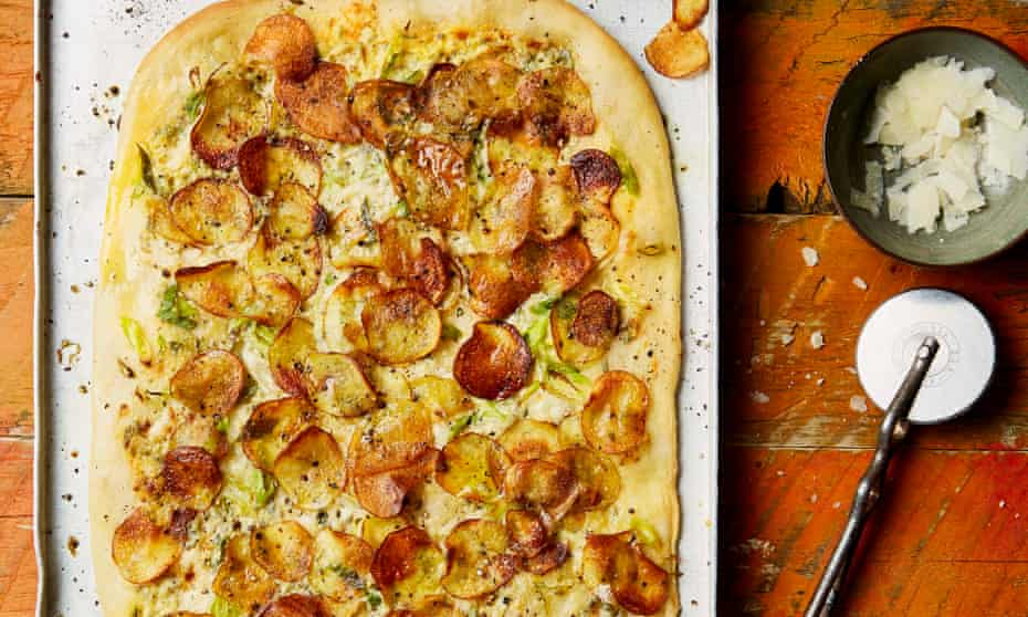 Yotam Ottolenghi's white pizza with potato, anchovy and sage.