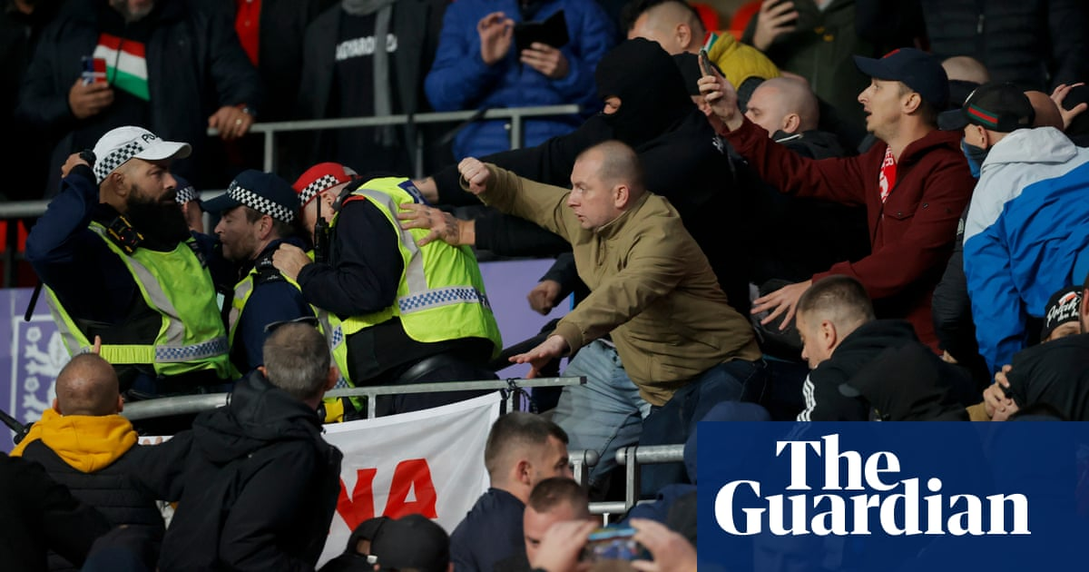Hungary fans fight with police inside Wembley at start of England match