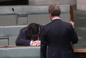 The leader of the House, Christopher Pyne, counsels the member for Dawson, George Christensen