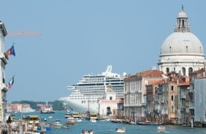 MSC Divina leaves Venice by St Mark's Basin after a stop of a few hours in Venice