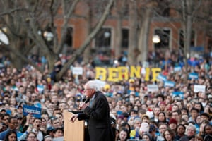 Bernie Sanders speaks during a rally at the University of Michigan in Ann Arbor, Michigan, 8 March 2020.