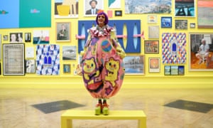 Grayson Perry in front of his Summer Exhibition