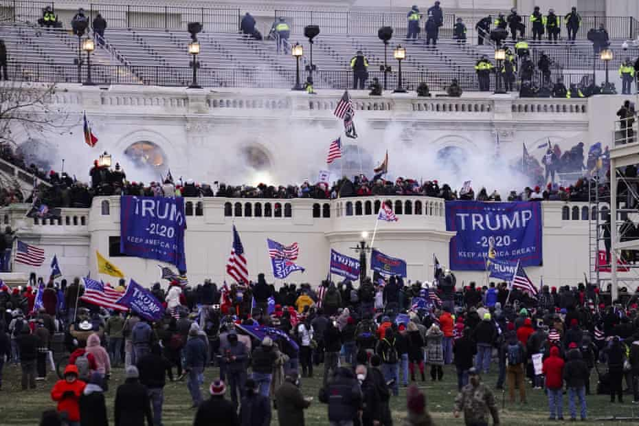 Violent protesters, loyal to Donald Trump, storm the Capitol on Wednesday 6 January.
