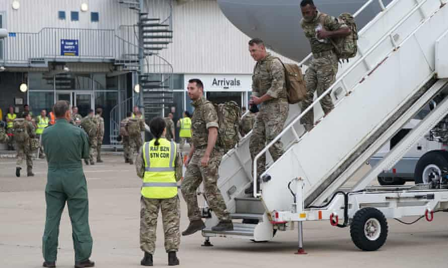 British military personnel arrive at RAF Brize Norton from Afghanistan, 29 August 2021