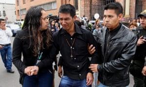 Julbencio Samboní cries after the wake of his daughter, Yuliana Andrea Samboní.