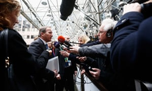 A Europe of many nations: the prime minister of Sweden, Stefan Löfven, speaks to Swedish broadcaster SVT outside a meeting in Brussels.