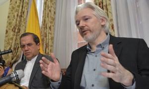 Julian Assange with Ecuador's foreign minister Ricardo Patino