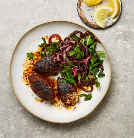 Yotam Ottolenghi's coffee and chilli rubbed chicken koftas with grilled onions and herbs.