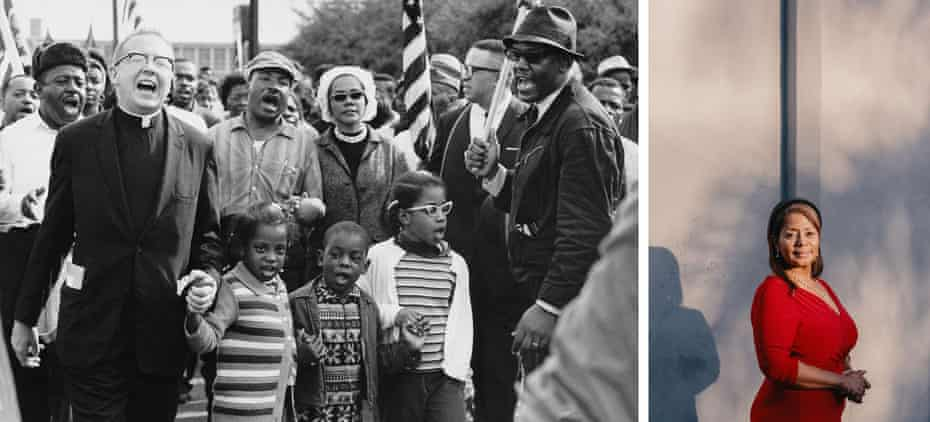 Left: The Rev Ralph Abernathy and Juanita Abernathy with Dr and Mrs Martin Luther King and the Abernathy children. Donzaleigh Abernathy is in the front row of children on the left. Right: Donzaleigh Abernathy, now 62.