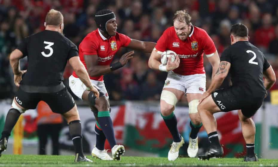 Alun Wyn Jones charges upfield during the final match of the 2017 Lions tour of New Zealand.