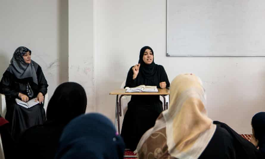 Sheikha Radia talks to women at an all-female study circle in a mosque in Abu Dhabi.