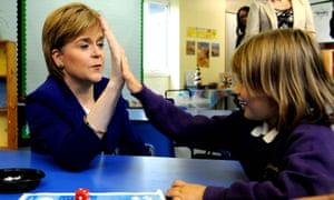 Scottish first minister, Nicola Sturgeon, at a primary school in Wester Hailes, Edinburgh.