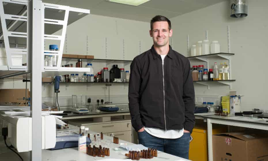 Scott Dann in a laboratory worked in by Polymateria, a company in which the centre-back has invested.